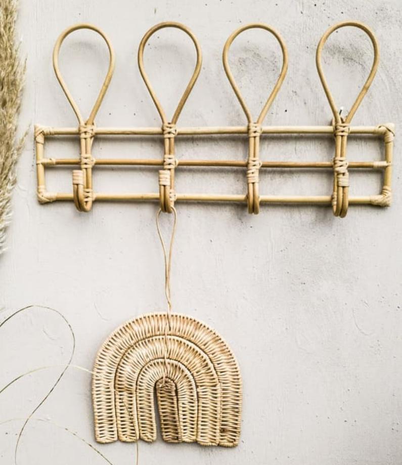 Bamboe rack 4 haken
