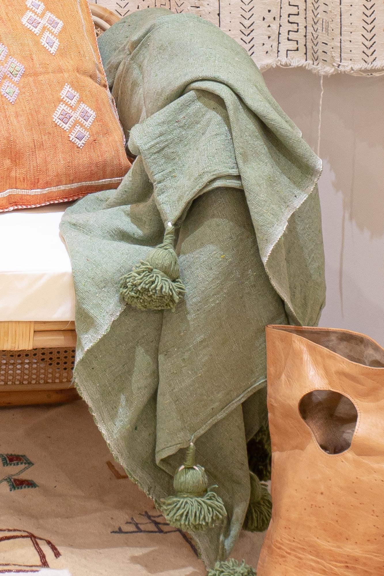 Marokkaanse Pompom Plaid Olive Green